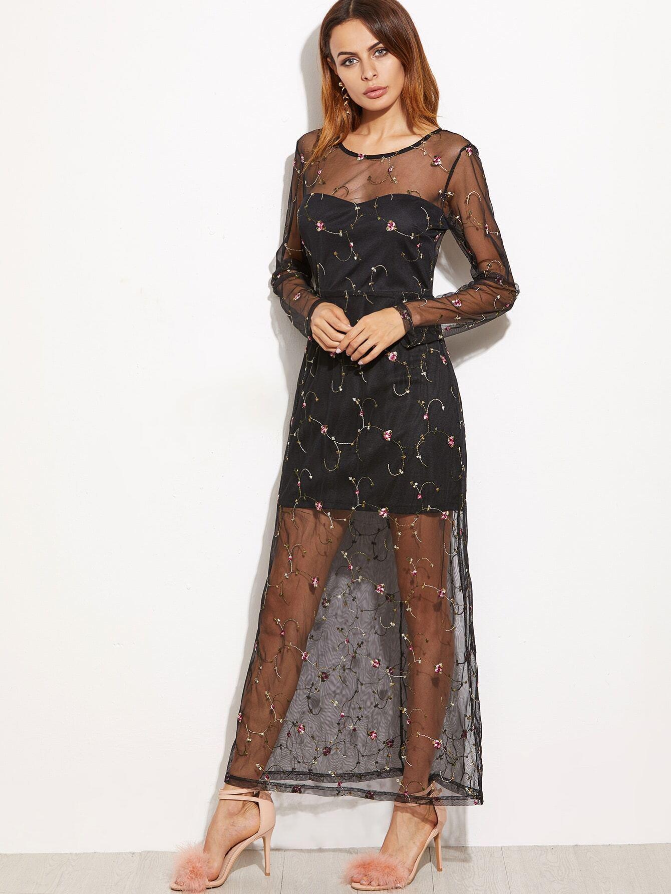 Black Sheer Mesh Embroidered Dress Shein Sheinside