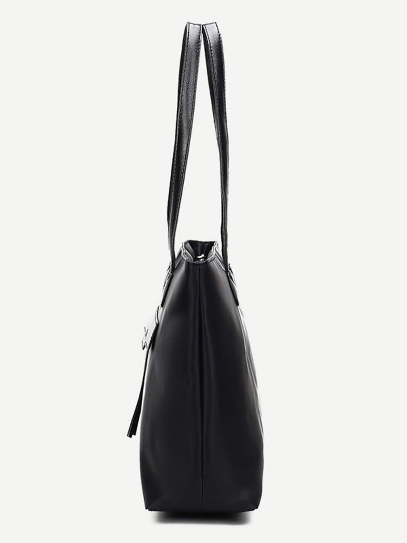 nylon einkaufstasche mit rei verschluss schwarz shein. Black Bedroom Furniture Sets. Home Design Ideas