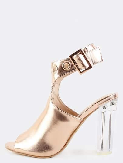 65f7115b8f3c Metallic Perspex Mule Booties ROSE GOLD