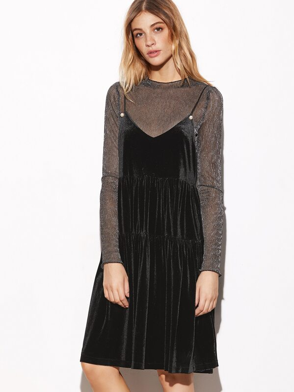 Metallic Pleated Sheer Top With Velvet Slip Dress Sheinsheinside