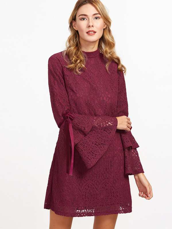 d69bd57971c8d Burgundy Layered Bell Sleeve Keyhole Back Floral Lace Dress | SHEIN