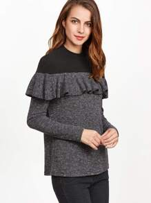 Black Marled Knit Contrast Yoke Ruffle T-shirt pictures