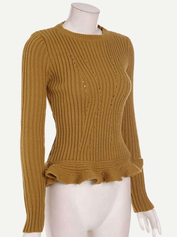426923d4a Khaki Ribbed Eyelet Keyhole Back Ruffle Hem Sweater