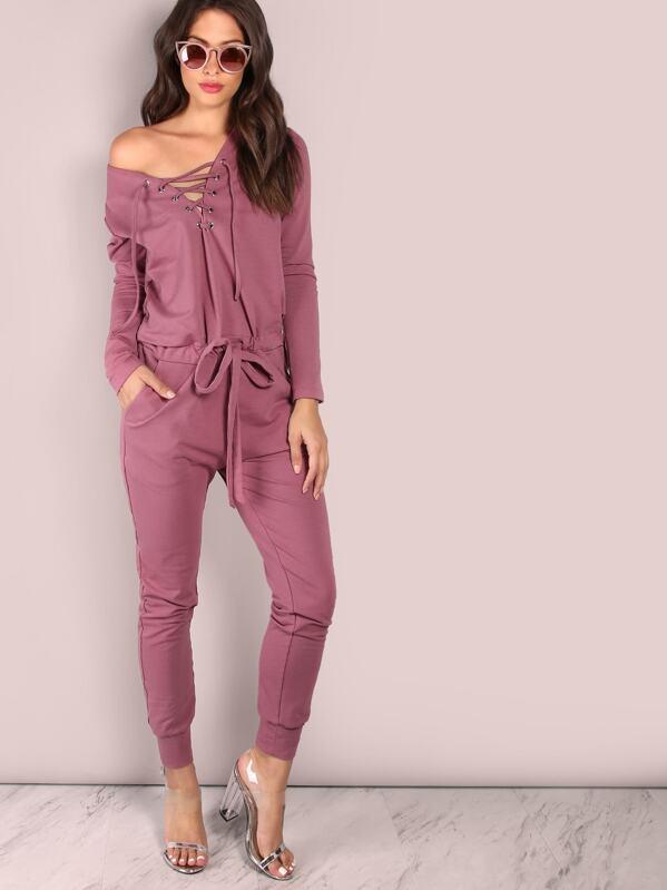 c3f3342c075 Slouchy Lace Up Cotton Jumpsuit PURPLE