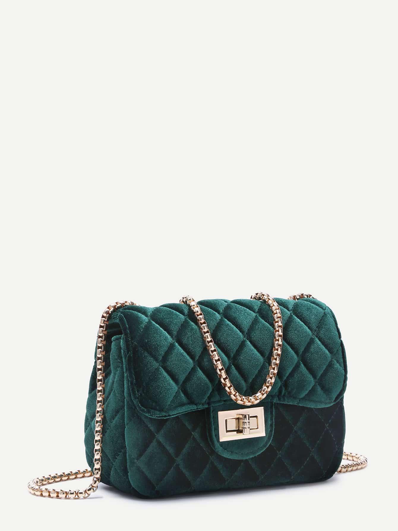 Dark Green Velvet Twistlock Closure Quilted Chain Bag