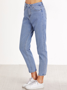 Jeans Vita Alta Con Tasche - Blu