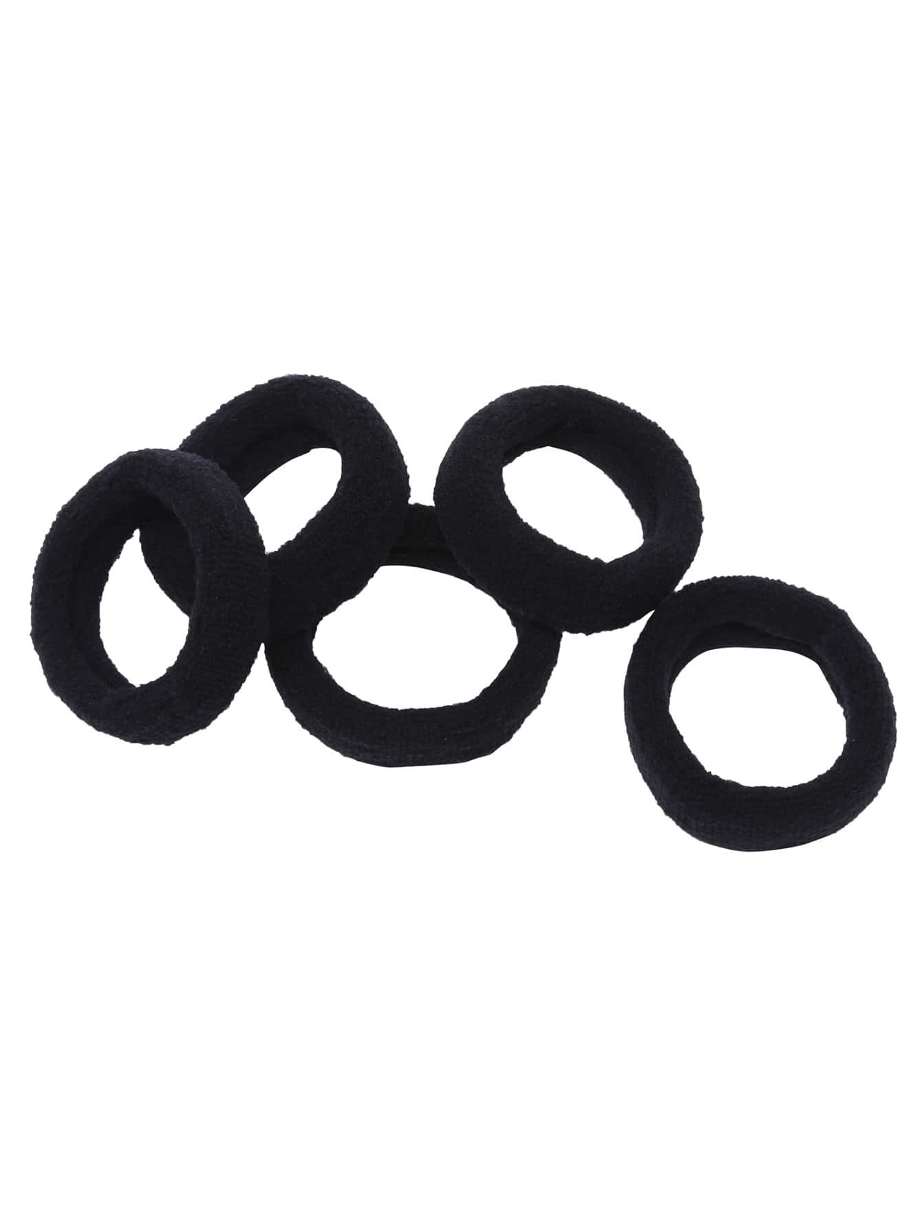 Black Wide Elastic Hair Tie Set 5Pcs