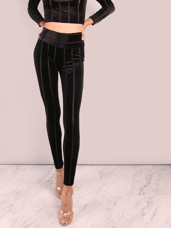 f17d164fc3cb28 High Waisted Striped Velvet Leggings BLACK | SHEIN