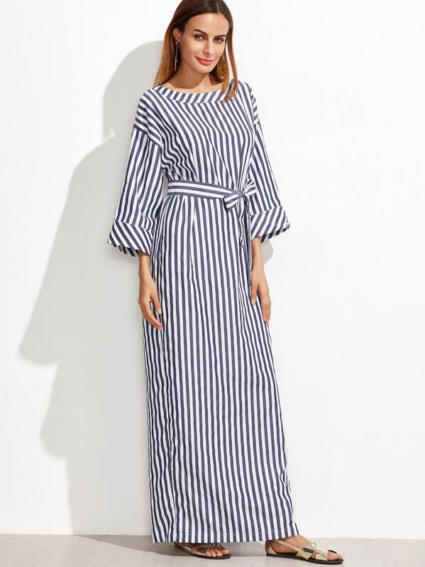 49c48dbe80c01 Striped Self Tie Roll Cuff Maxi Dress   SHEIN