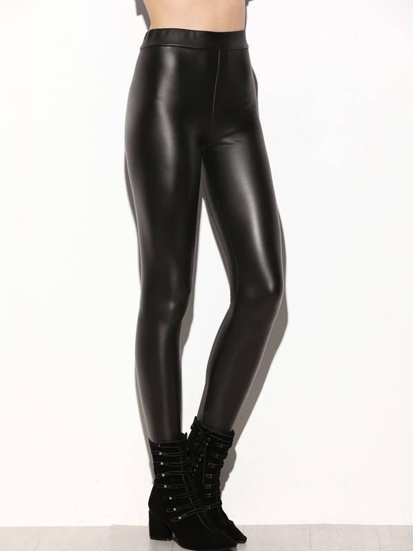 98f3bbd3e3e89f Black Faux Leather Leggings | SHEIN