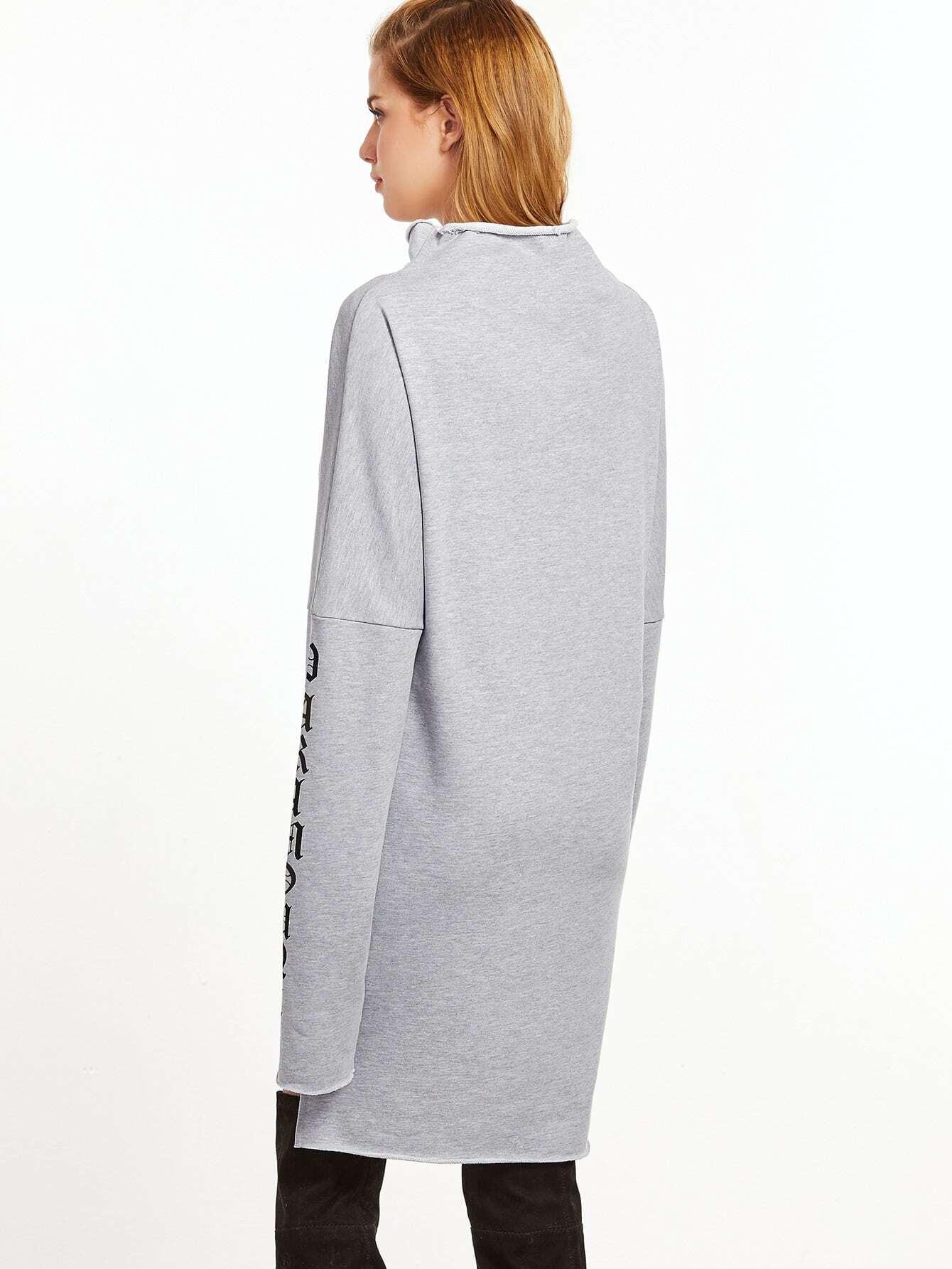 Sweatshirt kleid buchstaben druck umlegekragen vorne kurz for Mobel 9 buchstaben