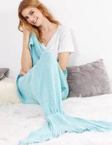 Light Blue Crocheted Fish Tail Design Mermaid Blanket