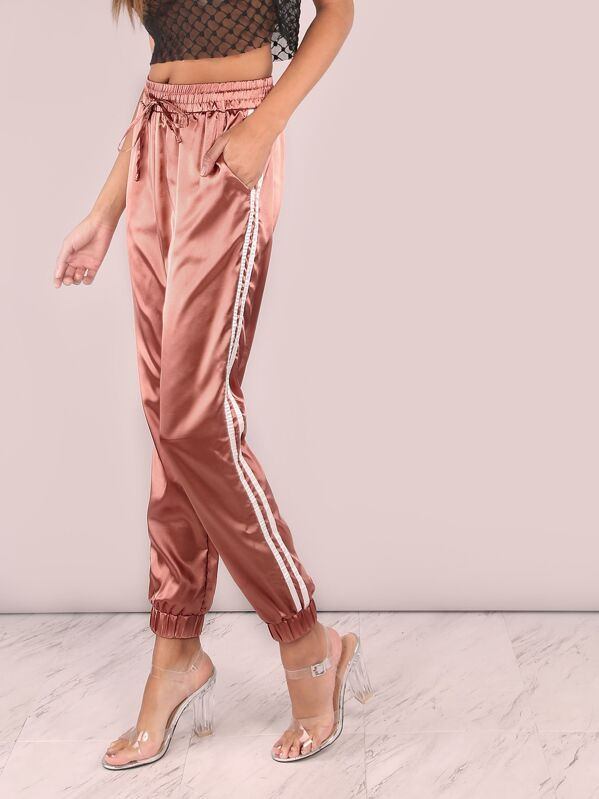 75509842d8 Satin Luxe Trainer Joggers MARSALA | SHEIN UK