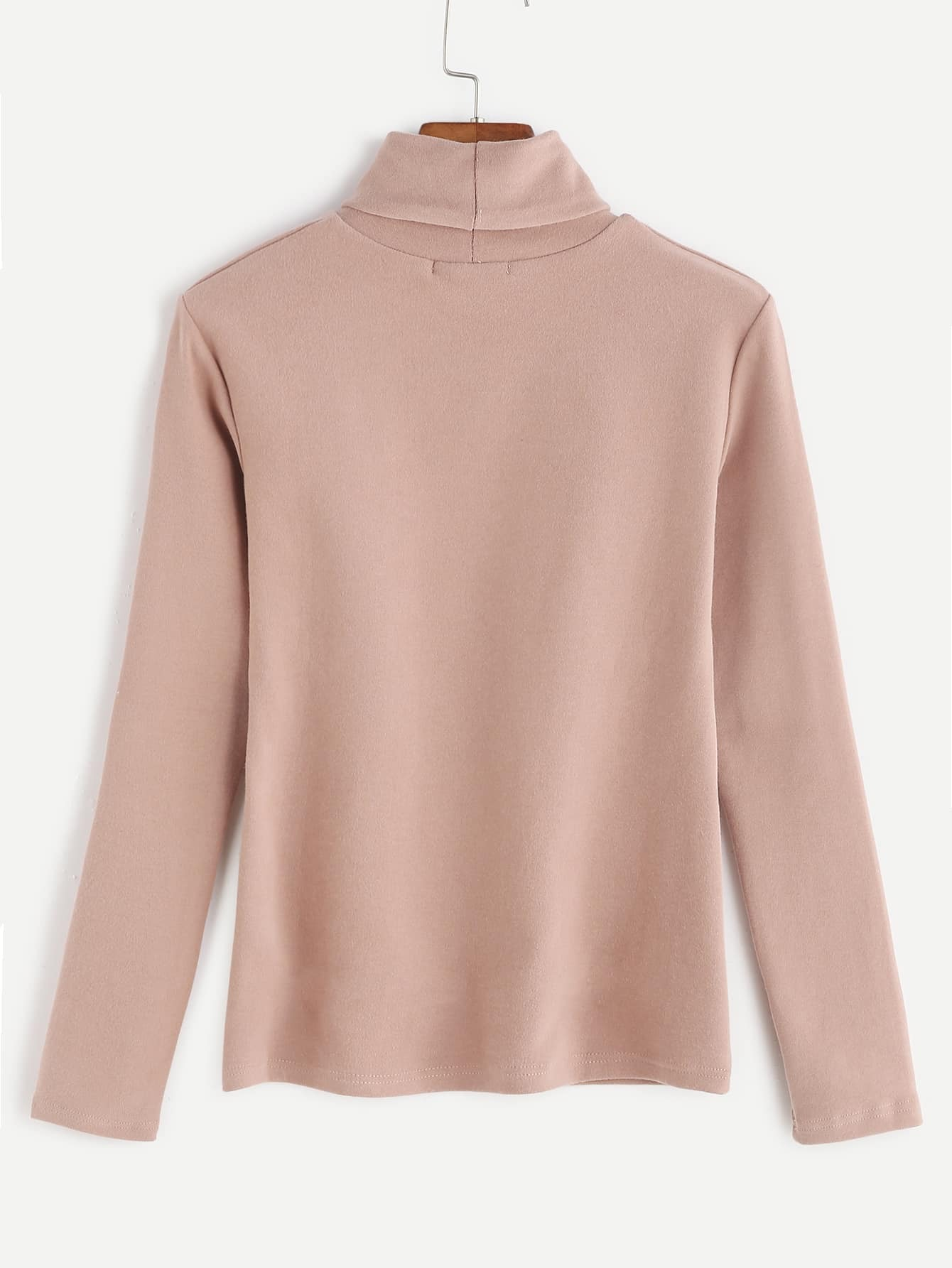 Pink turtleneck long sleeve t shirt shein sheinside for Turtleneck under t shirt
