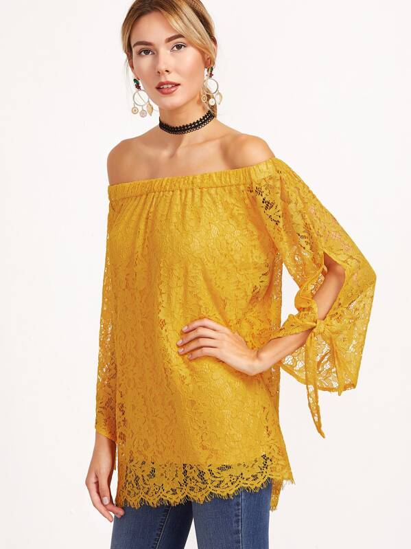 a555957312d3 Cheap Yellow Off The Shoulder Tie Sleeve Floral Lace Top for sale Australia