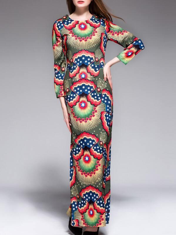 d80d3e3e6eb8 Multicolor Vintage Print Split Maxi Dress