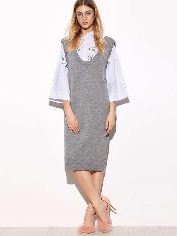 d151019dec Grey Pinafore Shift Sweater Dress