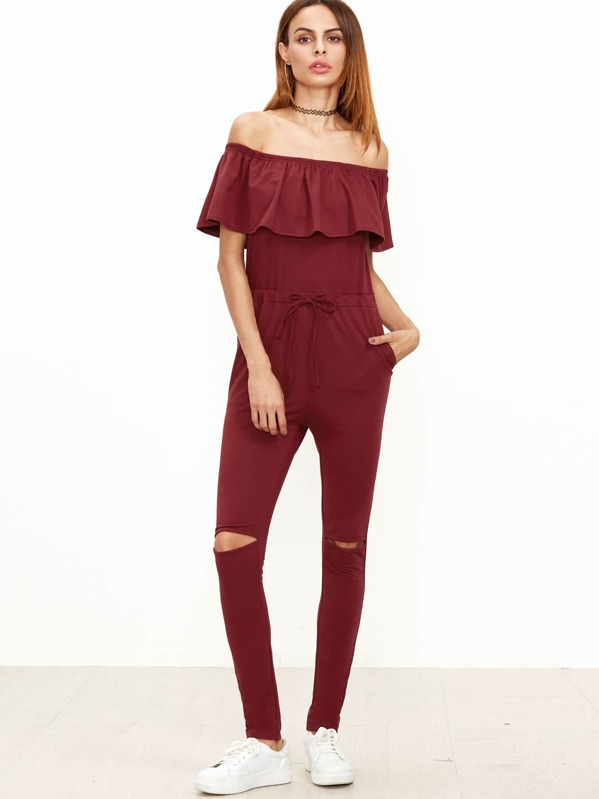 0b60e282a0d Cheap Burgundy Ruffle Off The Shoulder Knee Ripped Sweat Jumpsuit for sale  Australia