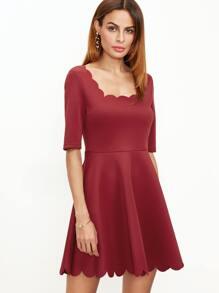 ca074c2f9f Red Scallop Trim Square Neck Skater Dress