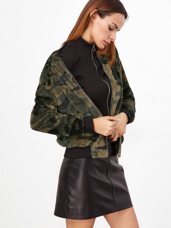 50c608b25aa50 Cheap Olive Green Camo Fluffy Fleece Bomber Jacket for sale Australia    SHEIN