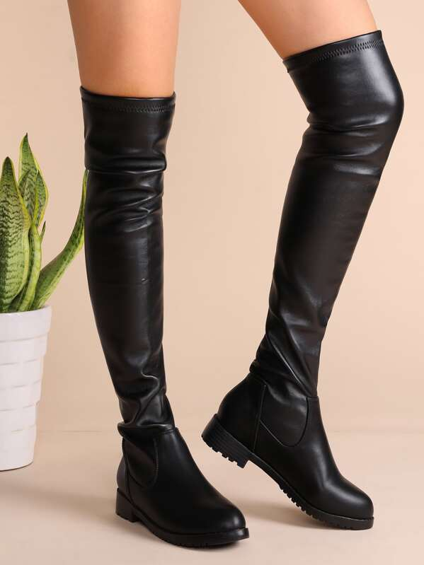 c2901eb6c1b Black Faux Leather Almond Toe Thigh High Boots
