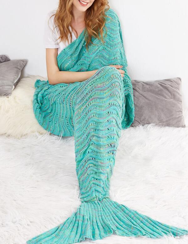Gehäkelt Steinig Fishtail Design Meerjungfrau Decke Grün German