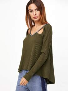 Olive Green Cutout Ribbed T-shirt With Jacquard Tape Detail pictures
