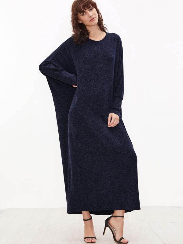 2de0d36079 Navy Batwing Sleeve Loose Maxi Dress | SHEIN