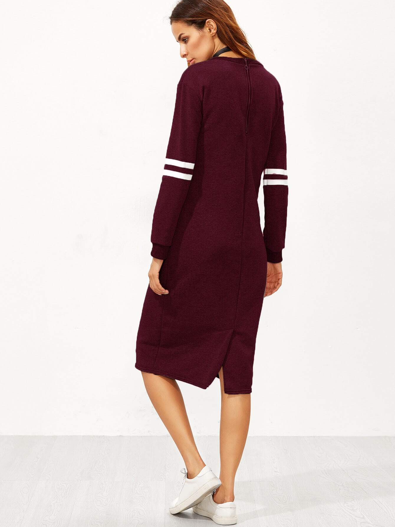 sweatshirt kleid mit rei verschluss baseball druck schlitz. Black Bedroom Furniture Sets. Home Design Ideas