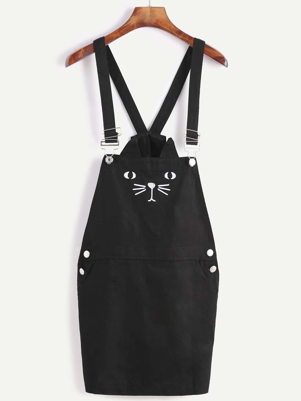 719178fa5c Black Cat Embroidery Overall Dress With Pocket