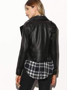 51f0b68c45 Black Oblique Zipper Faux Leather Jacket | SHEIN