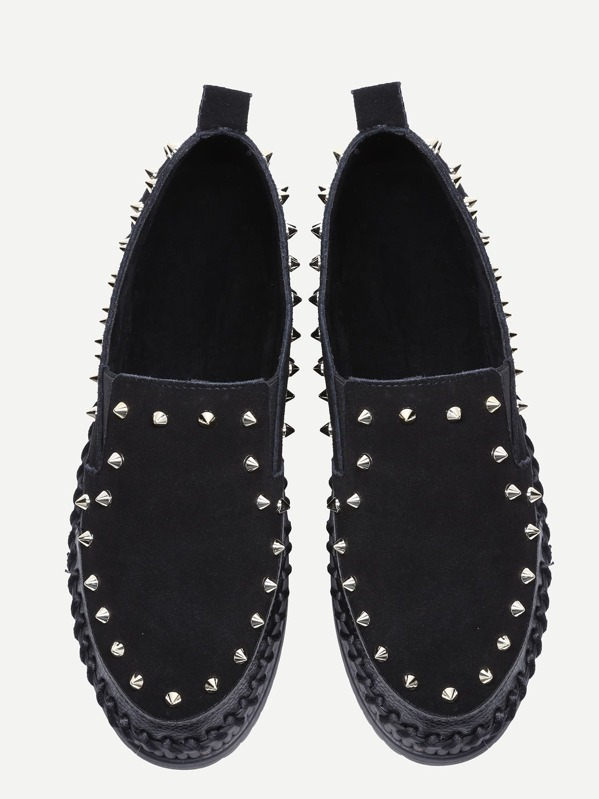 f44fd41e51 Black Stud Trim Nubuck Leather Platform Shoes. AddThis Sharing Buttons