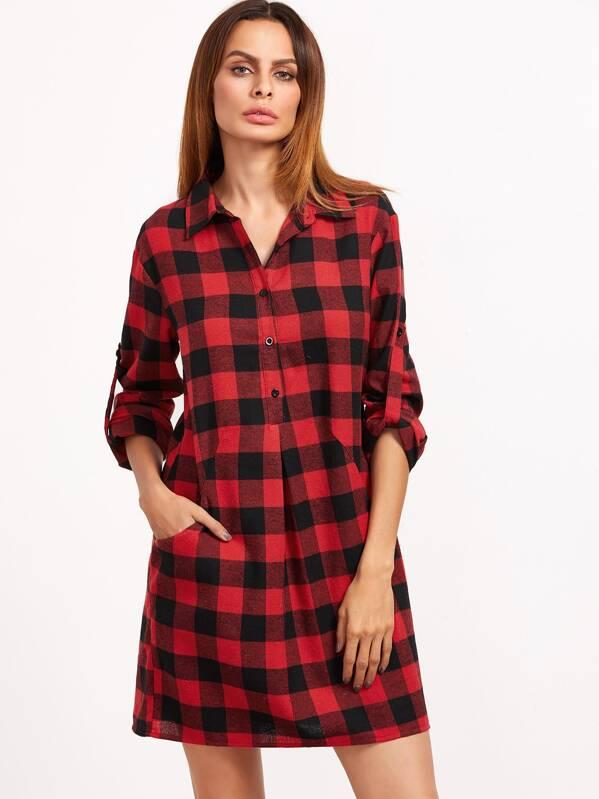 Vestido camisero de cuadros de manga remangada - negro rojo  1bb17f05e5a4