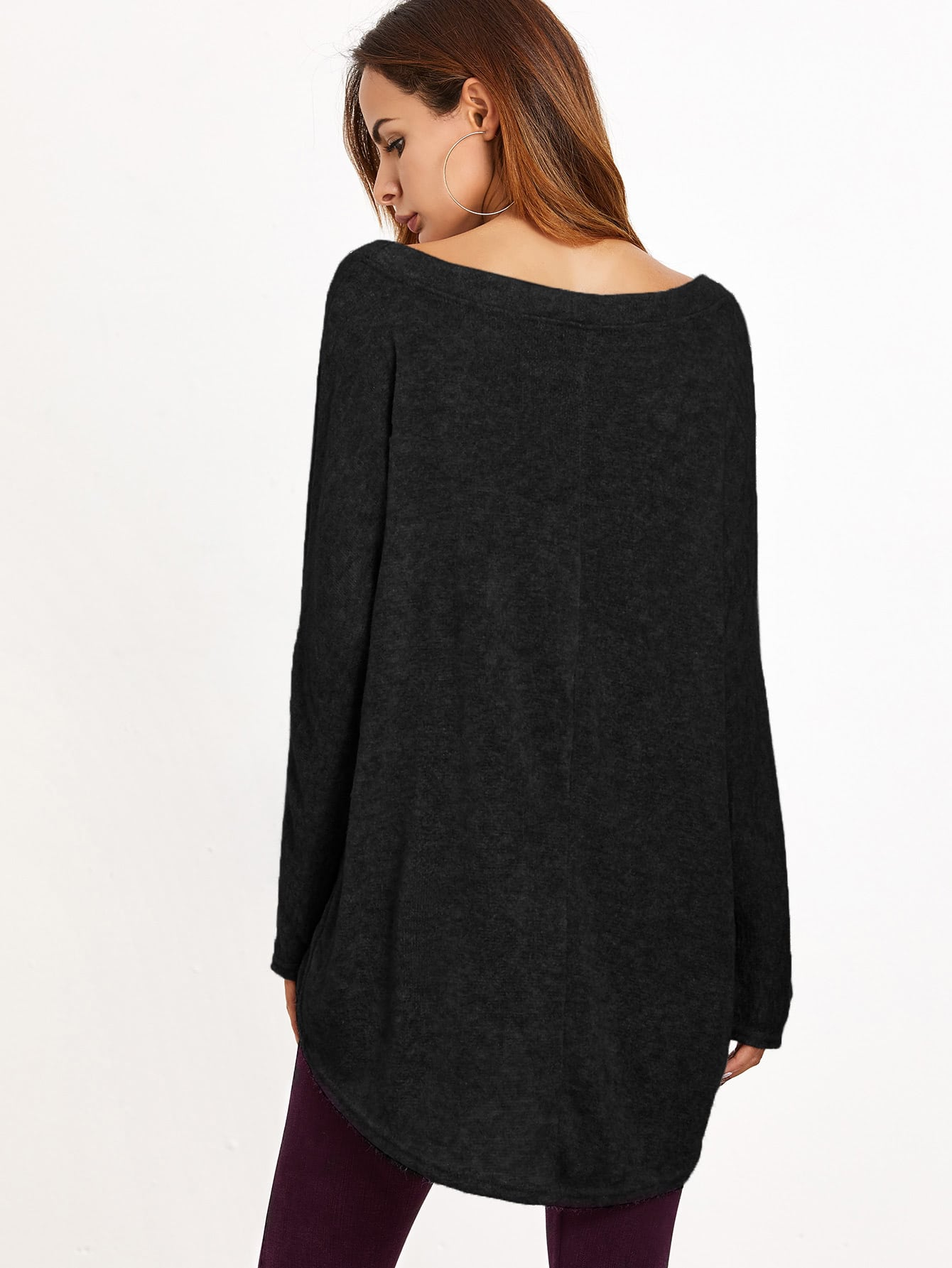 Black One Shoulder Dip Hem T-shirt