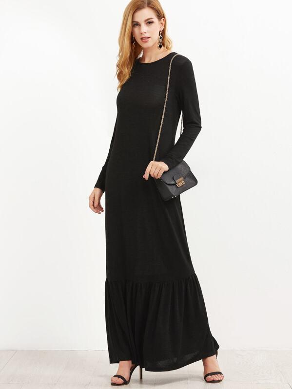 Black Long Sleeve Ruffle Hem Maxi Dress Sheinsheinside