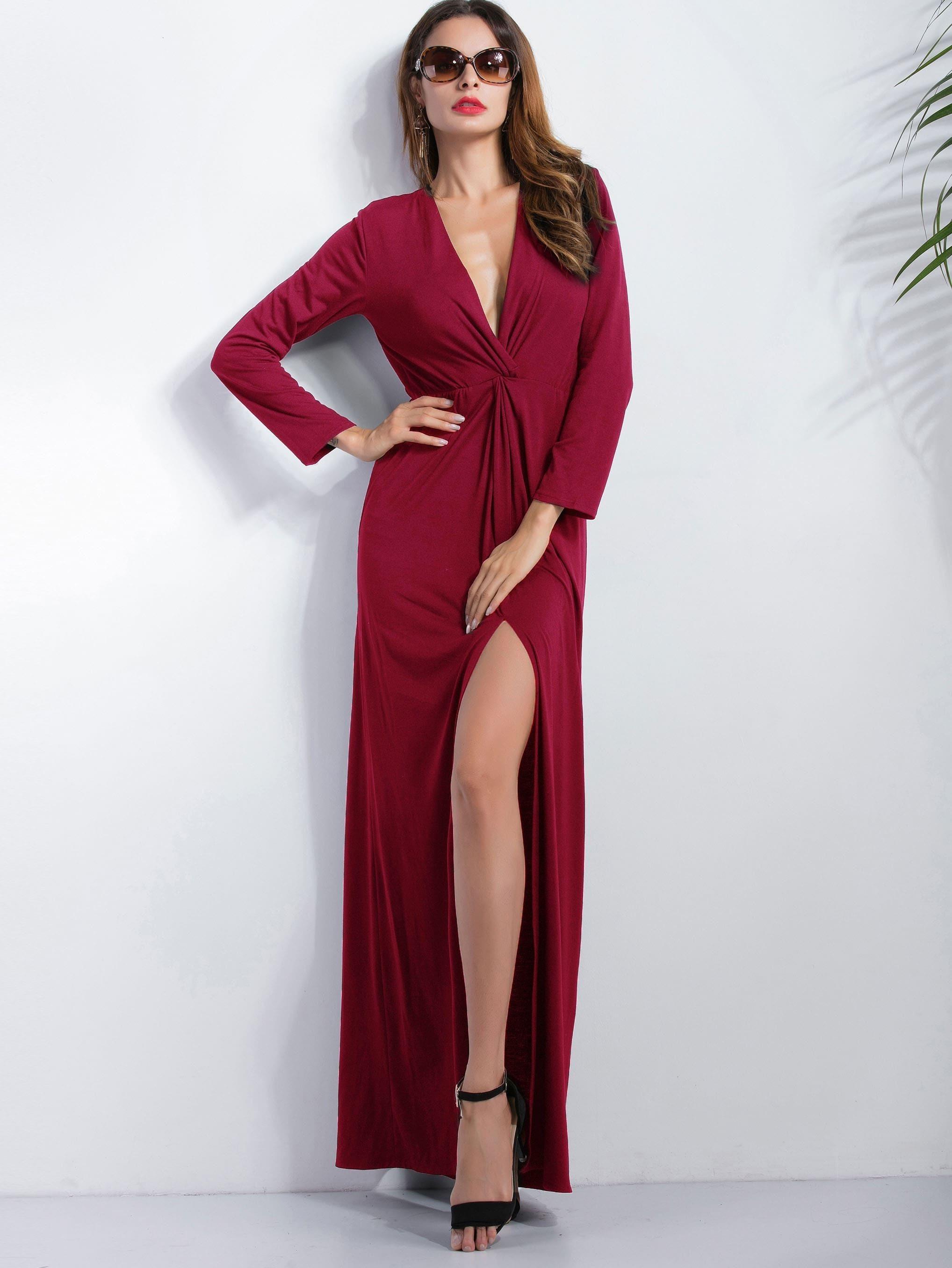Burgundy Deep V Neck Slit Front Maxi Dress