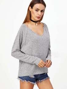 Heather Grey Raglan Sleeve Split Back T-shirt pictures