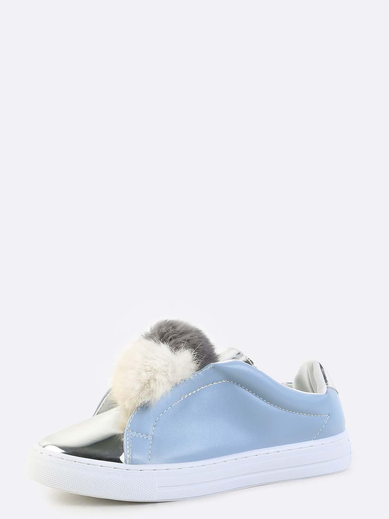 Zapatillas con pompones azul spanish shein sheinside - Pompones para zapatillas ...