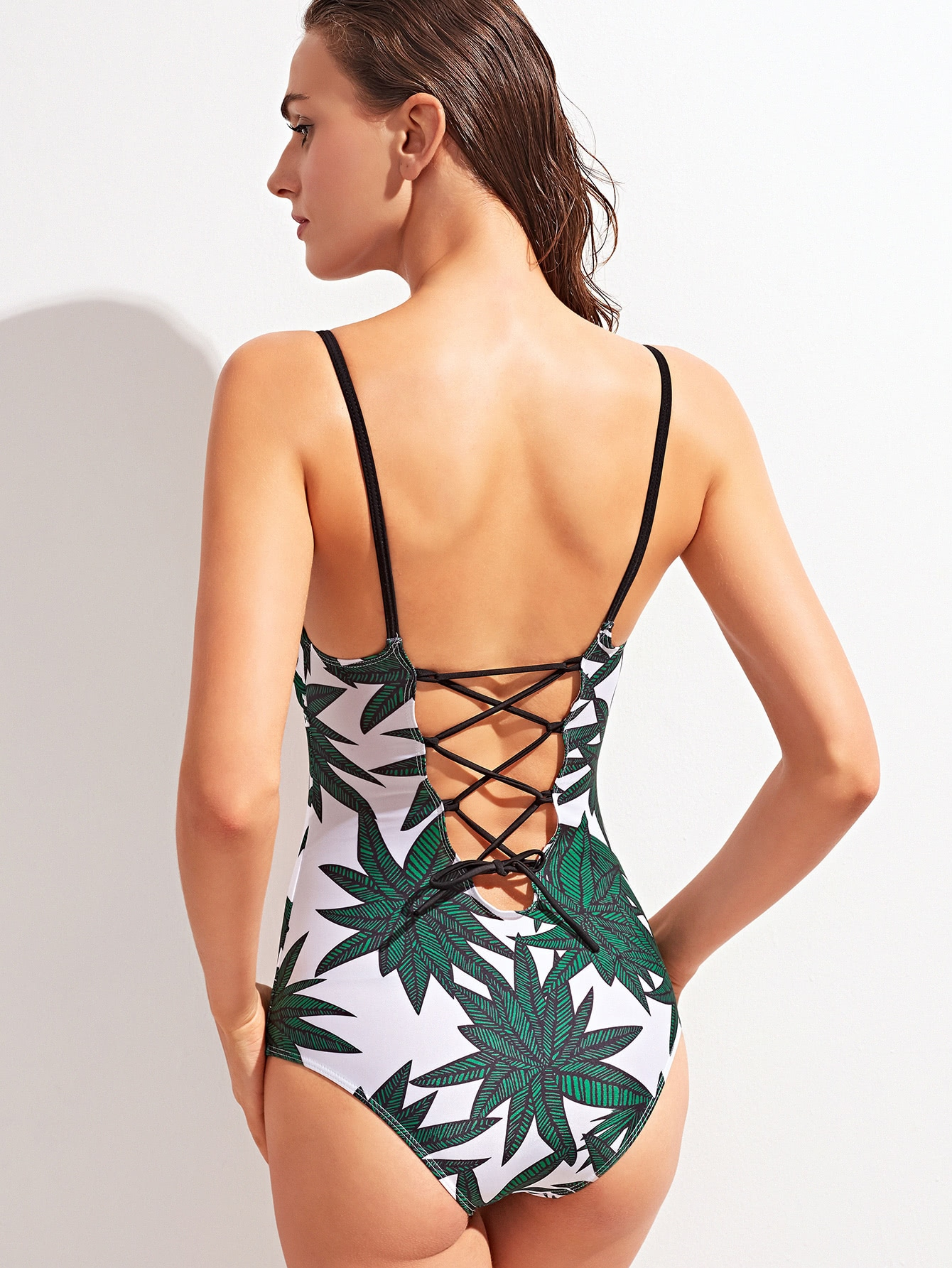 Green Tropic Print Lace Up Back Swimwear