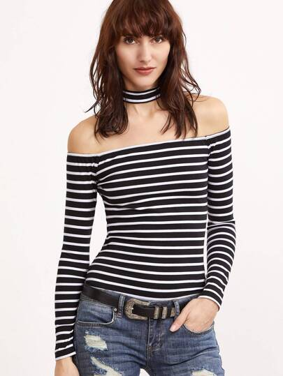 84aae82631f9fe Black And White Striped Off The Shoulder T-shirt With Choker