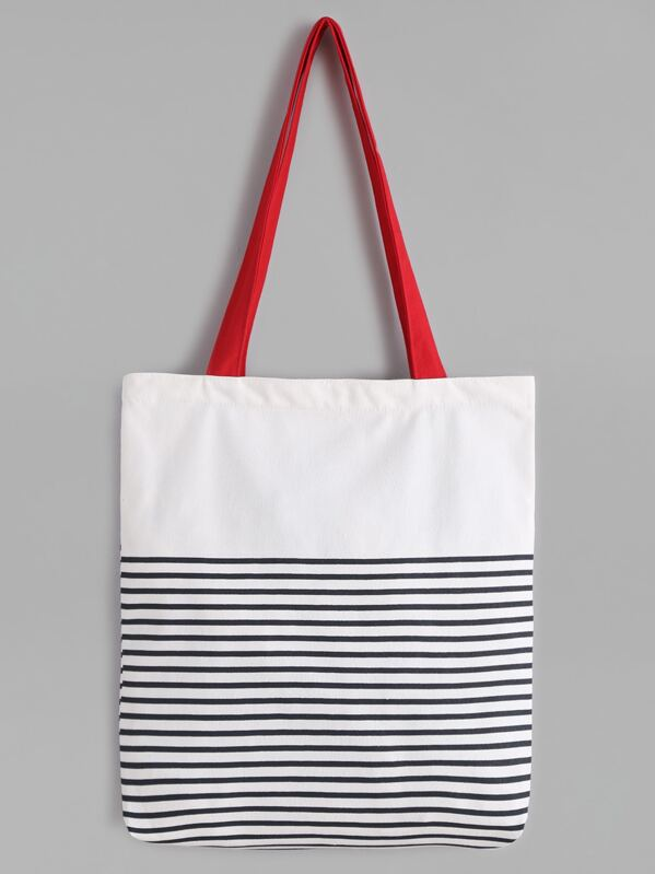 296d9902d White Striped Canvas Tote Bag With Red Strap | SHEIN