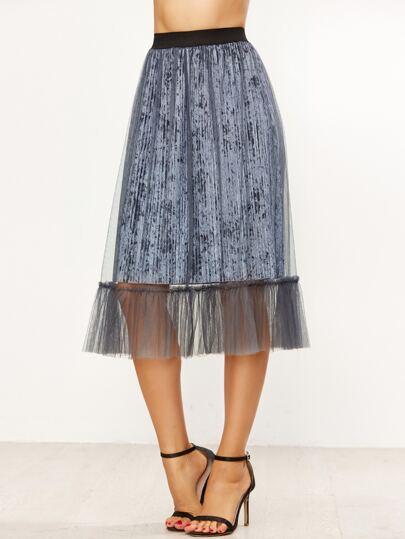 117248b26 Falda plisada de velvet estilo overlay - gris oscuro