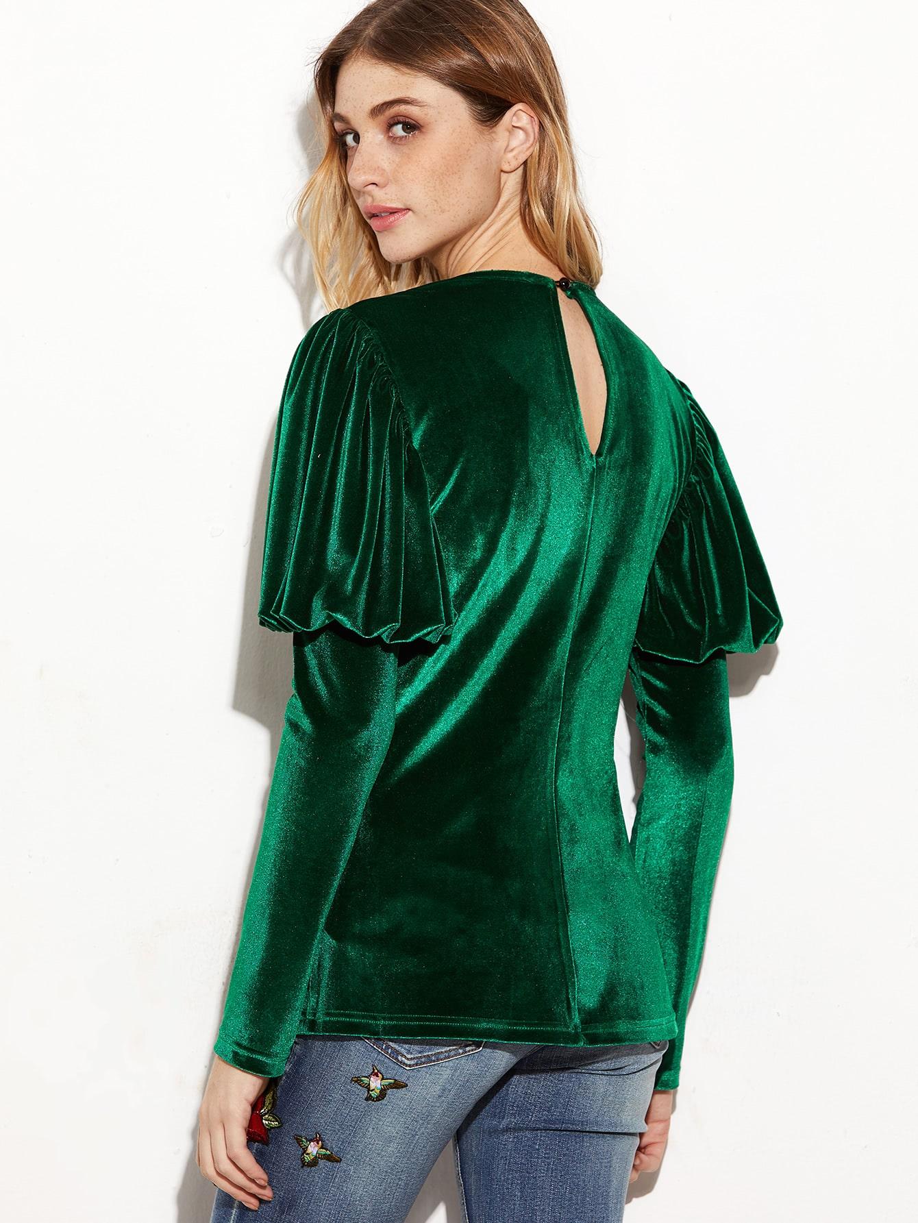Green Puff Sleeve Keyhole Back Velvet Blouse