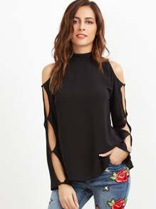 Black Keyhole Back Split Sleeve Top