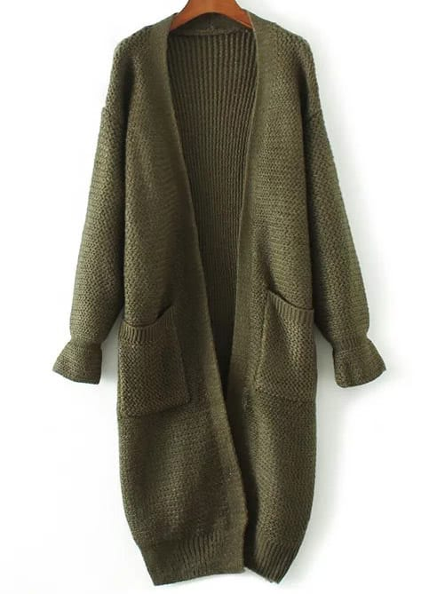 22c450e5bfd Army Green Bell Sleeve Long Cardigan With Pocket