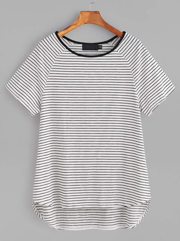 a4db53365c093 White Striped Contrast Neck Raglan Sleeve High Low T-shirt
