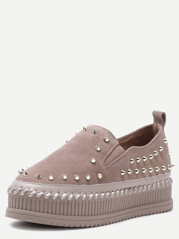 37ceb436a6 Cheap Khaki Stud Trim Nubuck Leather Platform Shoes for sale Australia |  SHEIN