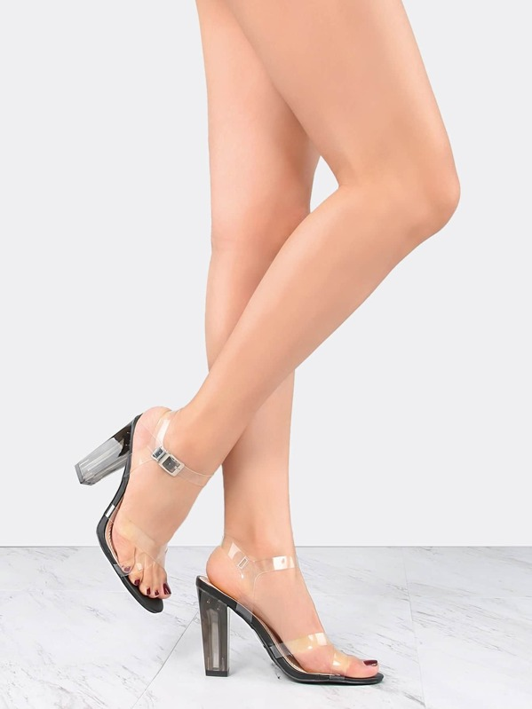 Transparent Straps Perspex Heels BLACK