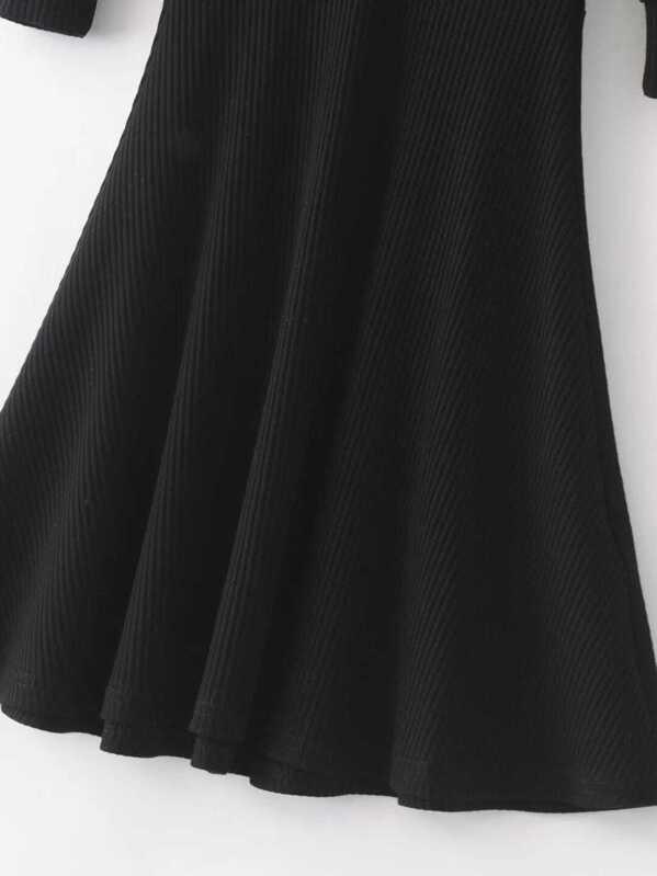 2706dc9423 Black Lace Up V Neck 3/4 sleeve A Line Dress   SHEIN