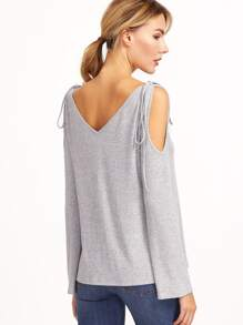 Grey Marled Ribbed Knit Tie Cold Shoulder T-shirt pictures